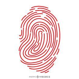 Roter Fingerabdruck Zeilendarstellung