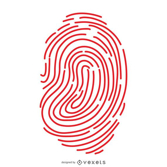 Red fingerprint lines illustration