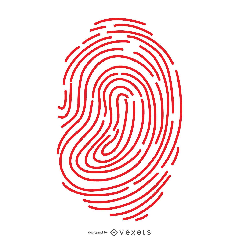 Red fingerprint lines illustration
