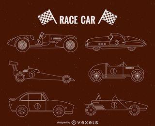 carros de corrida da ilustração do vintage set