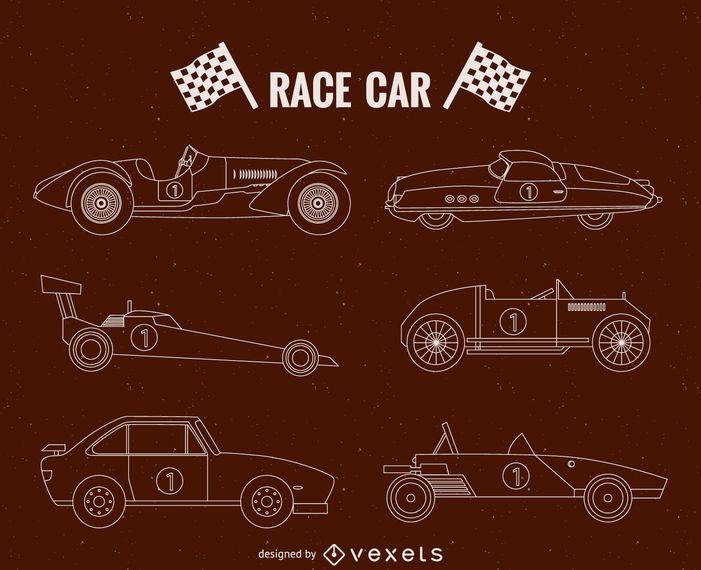 Vintage race cars illustration set