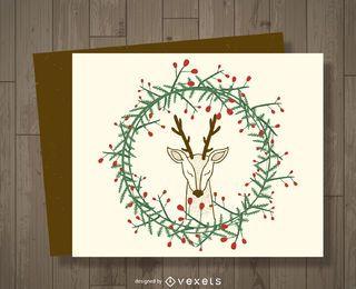 Tarjeta de ciervo de muérdago navideño