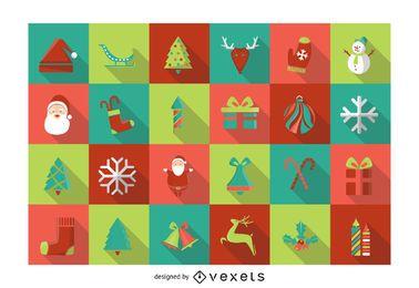 Paquete de iconos cuadrados de Navidad plana