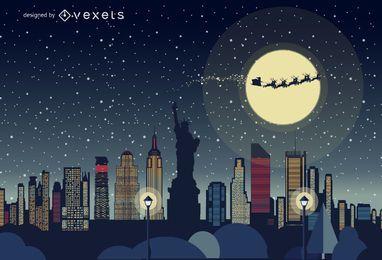 New York Christmas skyline