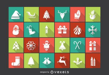 Christmas silhouette icon pack