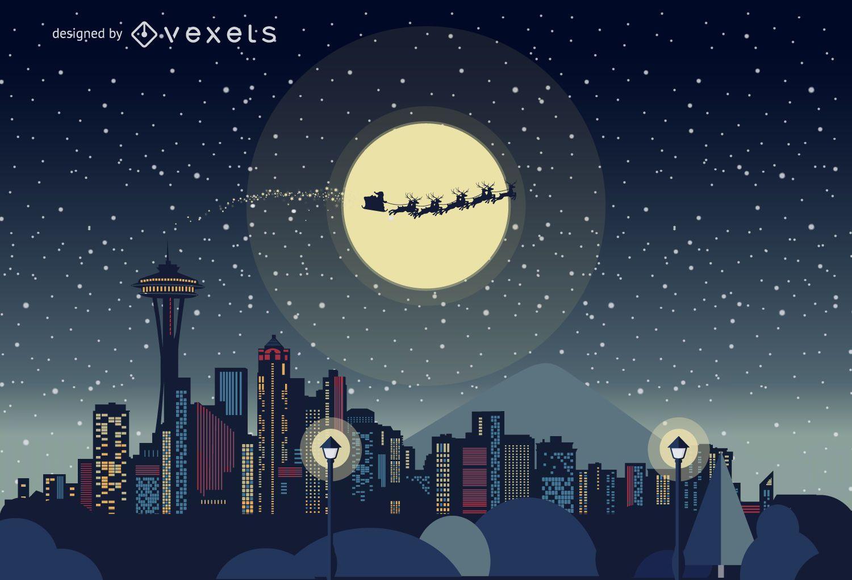 Seattle Christmas skyline