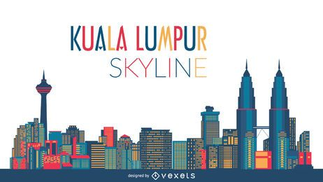Ilustração do horizonte de Kuala Lumpur