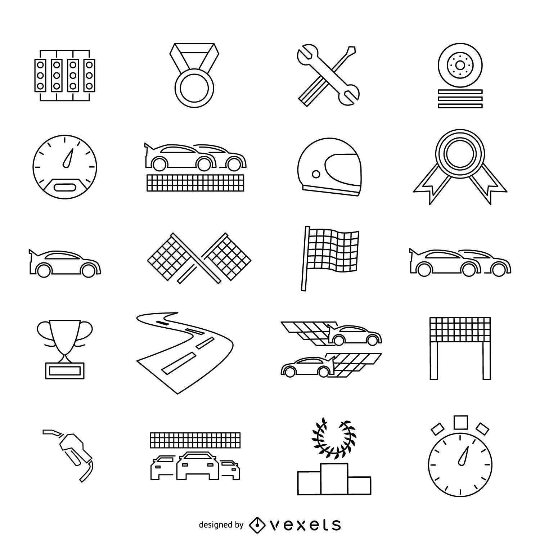 Race car stroke icon set