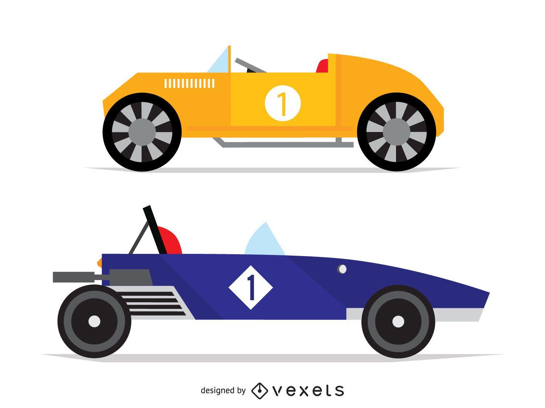 Flat vintage race car illustrations