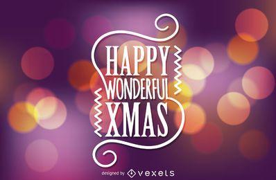 Christmas label over bokeh