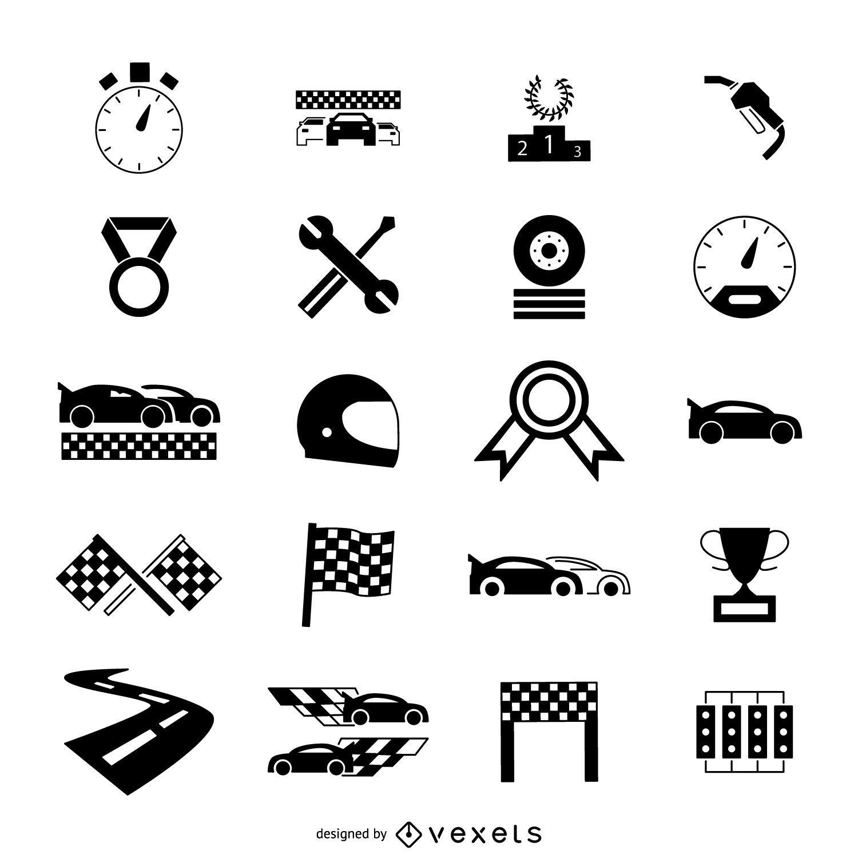 Conjunto de iconos de coche de carrera