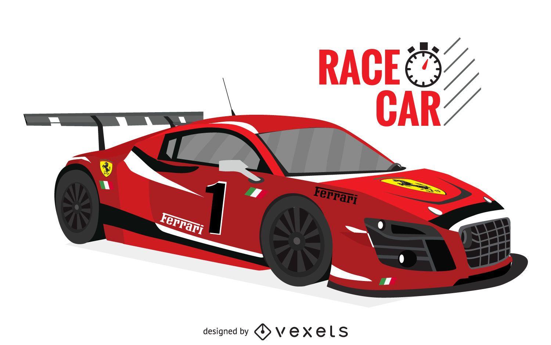 Ilustración de coche de carreras rojo