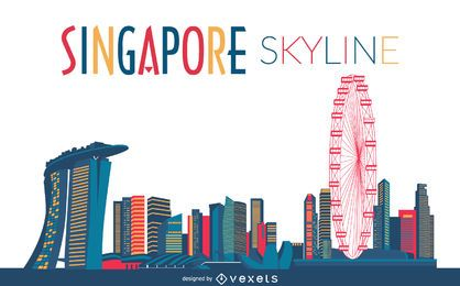 Colored singapore skyline silhouette
