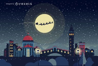 Horizonte de Navidad de Venecia