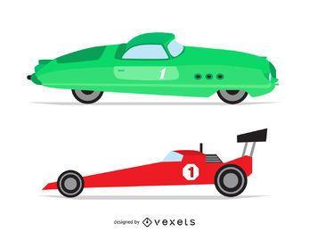 Ilustraciones del coche de carreras de la vendimia