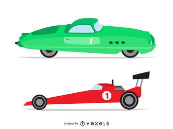 Vintage race car illustrations