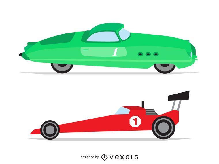 Vintage race car illustrations
