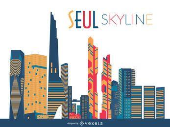Seoul skyline silhouette
