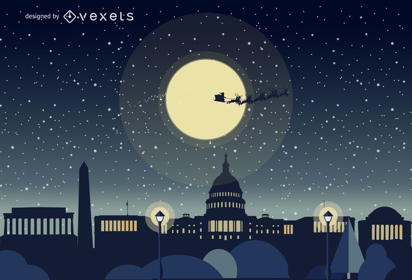 Washington Christmas skyline