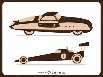 Ilustraciones de coches de carreras de época