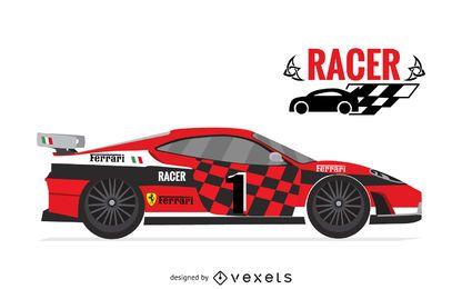 Ilustración aislada de coche de carreras