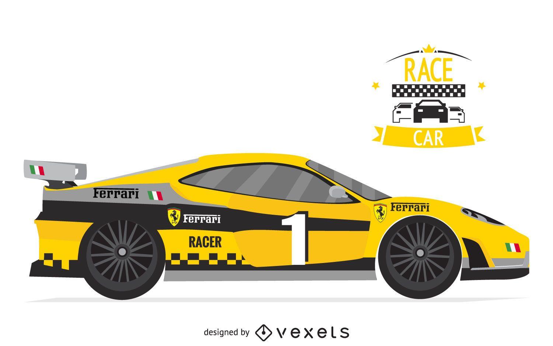 Ilustración de coche de carreras amarillo