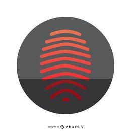 Icono de huella digital roja