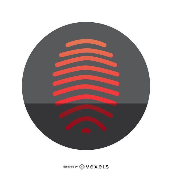 Ícone de impressão digital vermelho
