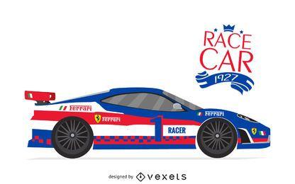 Ilustración de cartel de coche de carreras
