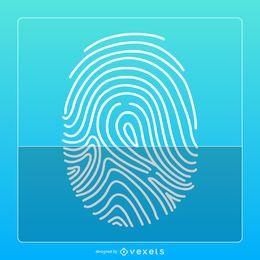 Diseño de icono de huella digital azul