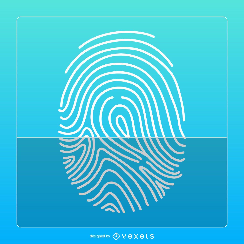 Blue fingerprint icon design