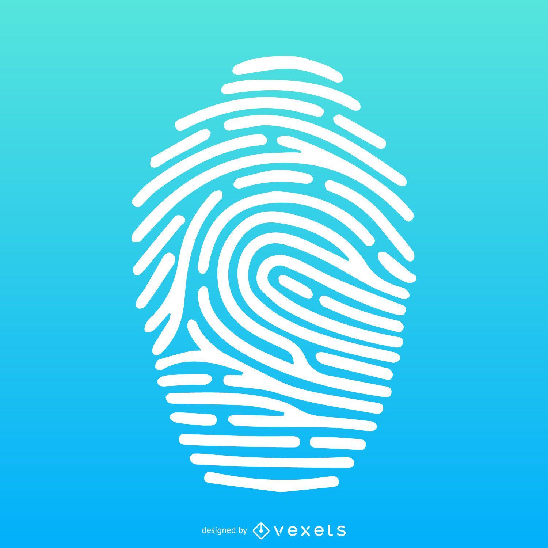 Fingerprint illustration over gradient silhouette