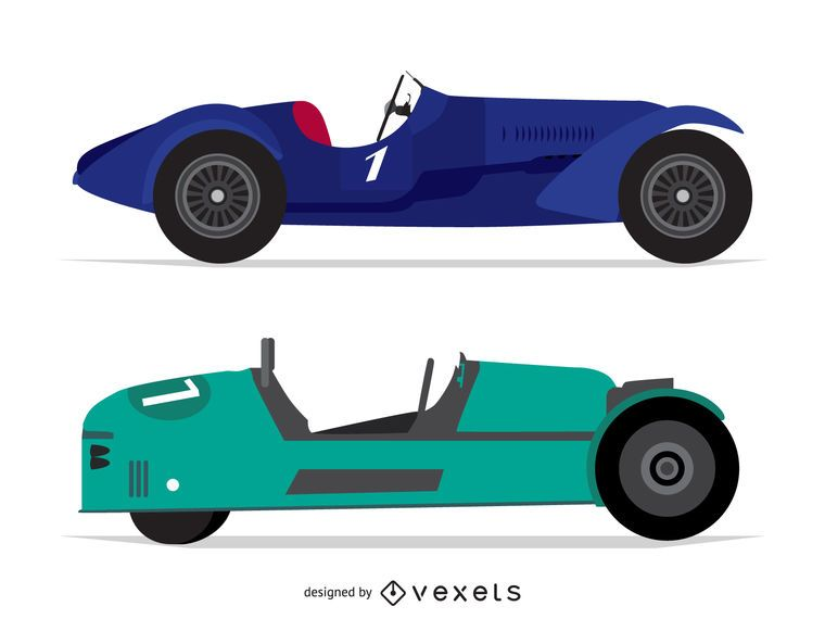 Racing car isolated illustrations