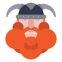 Flat viking soldier with helmet
