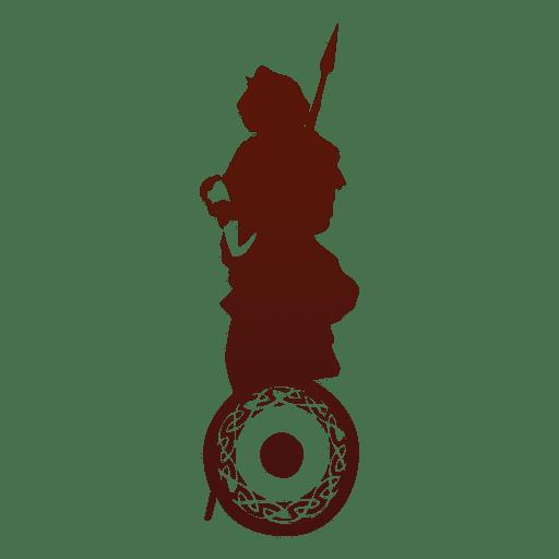 Guerrero con silueta de escudo Transparent PNG