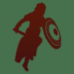 Krieger Silhouette Wikinger angreifen