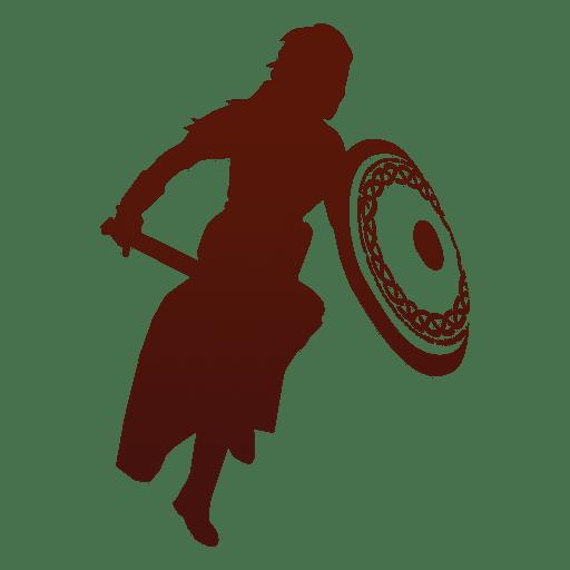 Warrior silhouette viking atacando Transparent PNG