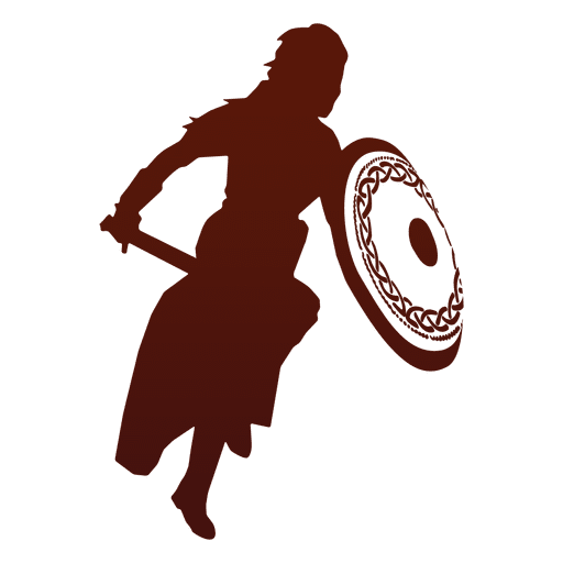 Warrior silhouette viking attacking Transparent PNG
