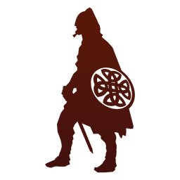 Guerreiro silhueta viking com escudo
