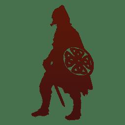 Guerrero vikingo silueta con escudo