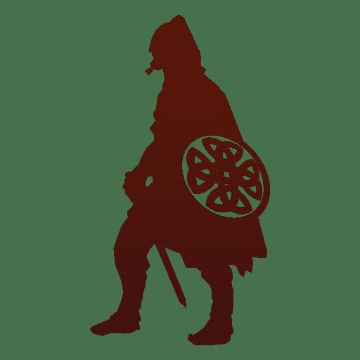 Guerrero vikingo silueta con escudo Transparent PNG