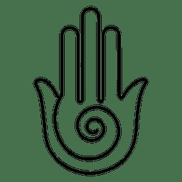 Yoga hand stroke symbol