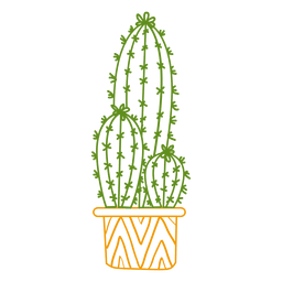 Cactus ornamented color silhouette