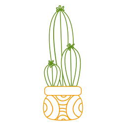 Cactus pot colorful silhouette