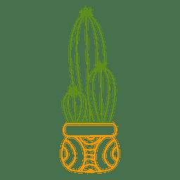 Pote de cactus silueta colorida