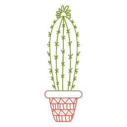 Cactus pot ornamented color silhouette