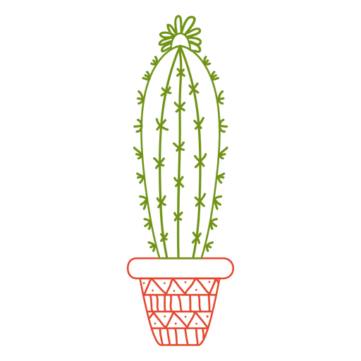 Cactus pot ornamented color silhouette png