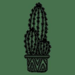 Pote de cactus adornado silueta