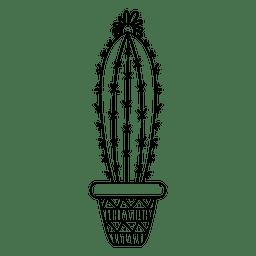 Dibujado a mano maceta de cactus adornado