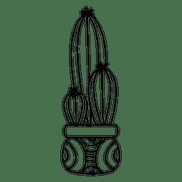 Dibujo de silueta de maceta de cactus